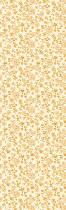 TenStickers. 花卉群佩斯利卧室壁纸. 图案的壁纸与观赏佩斯利花黄色辉煌背景上。它易于使用,并由优质材料制成。