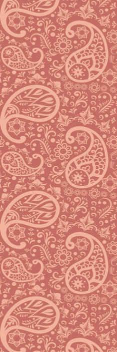 TenStickers. Carta da parati floreale Motivo paisley. Carta da parati marrone con motivo ornamentale paisley per la decorazione di una camera è realizzato con materiali della migliore qualità e di facile manutenzione.