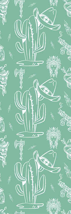 TenStickers. Cactus and hat western pattern Living Room Wallpaper. Green colour luxury wallpaper with the design features of cowboy's identity. It is made of good quality material and easy to apply.