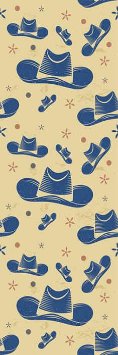 TenStickers. Behang Cowboyhoeden . Cowboy patroon behang met ontwerp van cowboyhoeden om de slaapkamer van kinderen te versieren. Het is gemaakt van materiaal van goede kwaliteit en gemakkelijk aan te brengen.