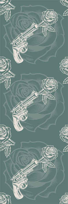 TenStickers. Cowboy Revolver and Rose Flower Wallpaper. Green and white colour wallpaper with design of cowboy's revolver shooting  roses.  It is beautiful and will fill any space with  cowboy's vibes.
