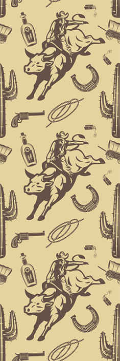 TenStickers. Cowboy riding a bull Childrens Wallpaper. Luxury bedroom wallpaper to decorate the space of children. It is featured with different cowboy's elements. It application is easy.