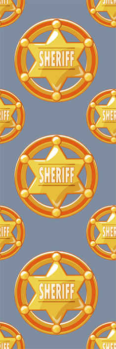 TenStickers. Cowboy star with name Childrens Wallpaper. Improve your space with our iconic sheriff badge vinyl wallpaper design.This design is uncommon and it would give your space a sheriff office command.