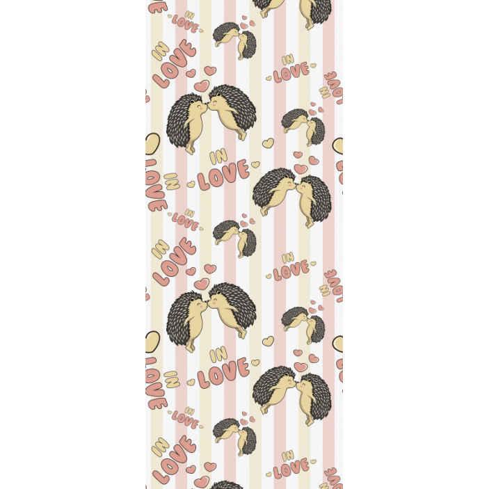 TenStickers. Stekelvarken verliefd stekelvarken behang. Kinderkamer behang gedessineerd met egels en tekstprints in mooie kleur. Het ontwerp illustreert twee verliefde egels.