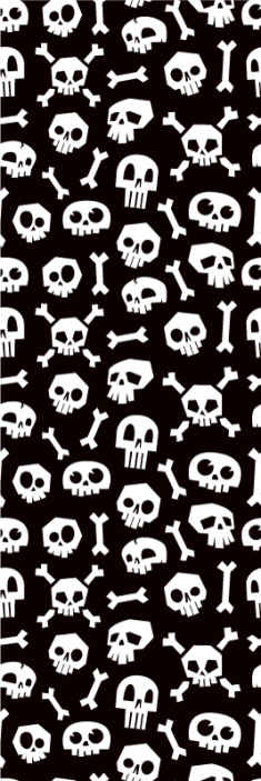 TENSTICKERS. ハロウィンスケルトンw壁紙. 子供部屋のための黒と白の壁紙。黒の背景に白い骸骨の頭蓋骨と骨のさまざまなプリントで満たされたデザイン。