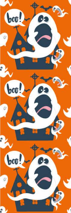 TenVinilo. Papel pared infantil naranja de fantasmas. Papel pintado dormitorio infantil de Halloween. El diseño contiene diferentes castillos de brujas, fantasmas y murciélagos ¡Compra online!