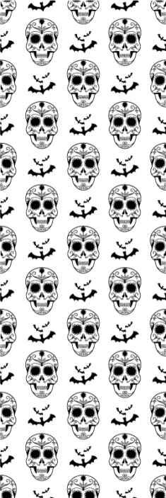 TenStickers. Csontváz háttérkép. Csontváz mintás háttérkép a szoba dekorációjához. Egyszerű, kiemelt halloween háttérkép a ház bármely falának díszítésére a halloween fesztiválra.