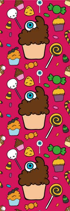 TenStickers. Dekorative cupkins soveværelse tapet. Søde soveværelse tapet til børn. Et design, der indeholder illustrationer af forskellige cupcakes, slik, lollypops osv. Originale og nemme at installere.