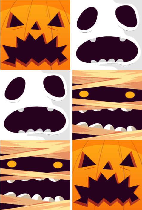 TenStickers. Carta parati bianca Fantasmi ornamentali zucche e mummie. Bellissimo design di zucca e fantasma di halloween per la decorazione domestica. Originale, resistente e molto facile da applicare.