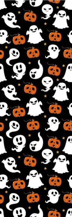 TenStickers. Tapisserie salon Fantômes d'halloween ornementaux. Papier peint décoratif d'halloween pour la chambre avec différentes illustrations de fantômes et de citrouilles. Il est original, durable et vraiment facile à appliquer.