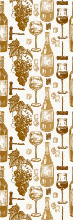 TenStickers. papel de parede cozinha Garrafas de vinho. Belo papel de parede de tema de cozinha para aprimorar sua cozinha ou espaço de jantar. O desenho contém estampas de garrafas de vinho, taças e uvas para vinho.