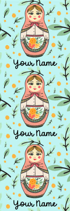 TenStickers. Matryoshka with name Kids Wallpaper. Customize your wallpaper with name in this matryoshka patterend design.  Green colour background design with various matryoshka and ornamental flowers.