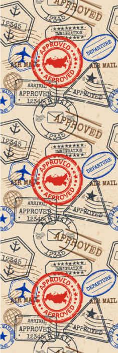 TenStickers. Modern behang Reiszegels. Decoratief reis stempel behang ontwerp met verschillende goedkeurings stempels, dezelfde stijl als een paspoort. Het is gemakkelijk aan te brengen en van hoge kwaliteit.