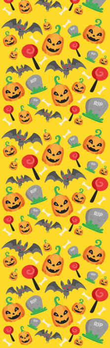 TenStickers. Yellow background with ghosts bats and candy Wallpaper. Yellow colour Halloween wallpaper featured with ghost bat, pumpkins, candy and inscribed RIP. Easy to apply and of high quality.