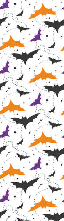 TenStickers. Bats Orange Halloween Wallpaper. A decorative Halloween wallpaper design made with orange, purple and black bats flying. It is easy to apply and of good quality.