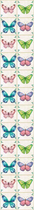 TenStickers. butterflies tiles Hallway Wallpaper. Wallpaper with butterflies tiles. It is a perfect decoration for holl in your house. Made of hight quality resistant material, easy to apply.