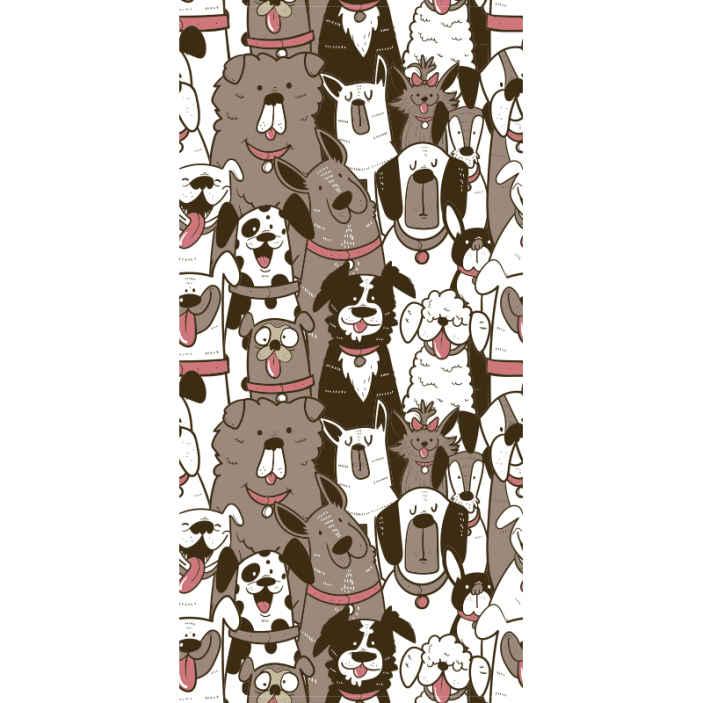 TenStickers. Tapisserie salon Visages de chien. Papier peint à motifs d'animaux avec des dessins de chiens. Ce papier peint moderne en vedette serait bien pour une chambre à coucher en particulier pour les enfants.