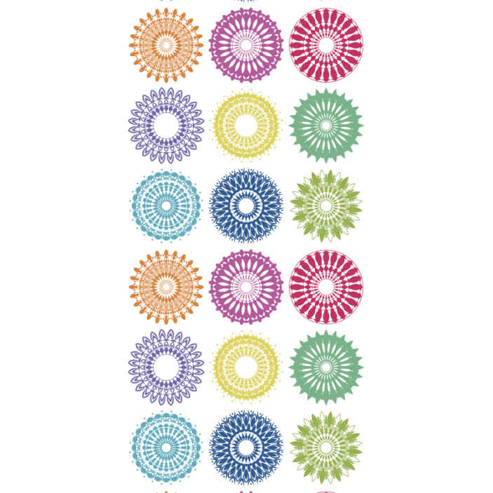 TenStickers. Coloured circles Bedroom Wallpaper. Just cover the headboard space of your room or kid bedroom already with this multicolored ornamental circles bedroom wallpaper.