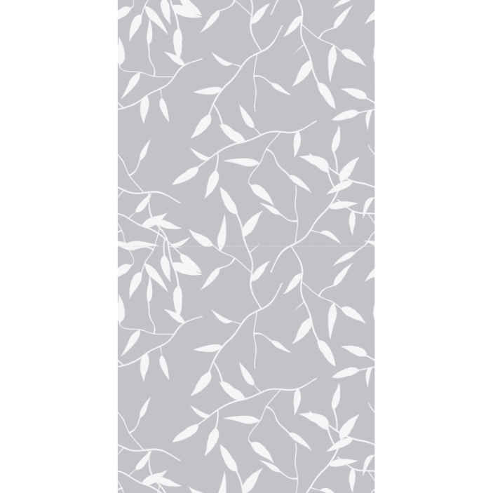 TenStickers. White branch  Contemporary Wallpaper. Grey background wallpaper with ornamental patterns imitating leaves on tree branch . Perfect and suitable modern wallpaper design for living room.