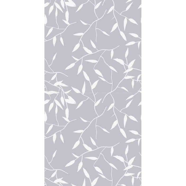 TenStickers. Parati moderni Ramo bianco. Sfondo grigio con motivi ornamentali che imitano le foglie sul ramo di un albero. Design di carta da parati moderno perfetto e adatto per il soggiorno.