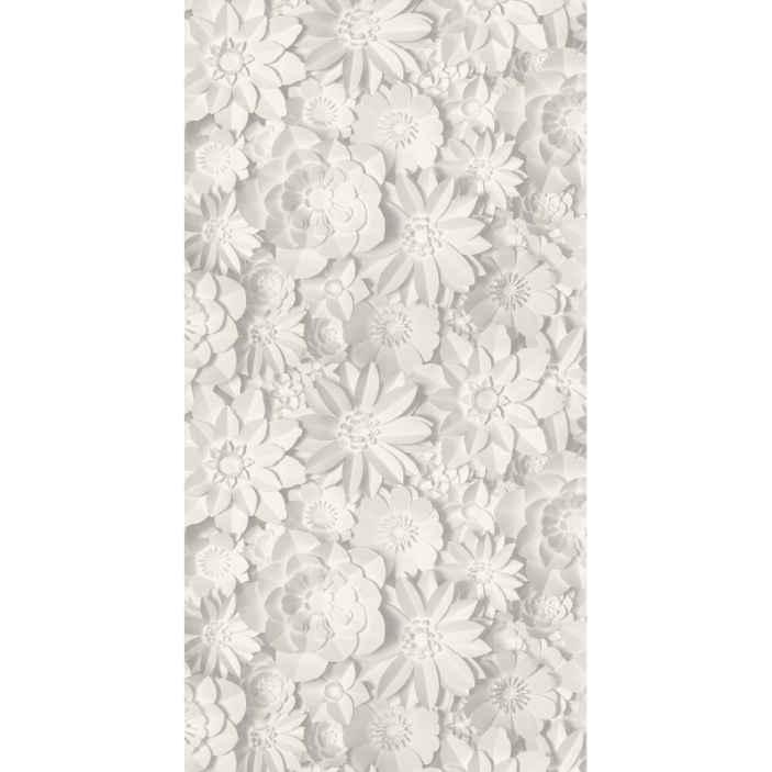 TenStickers. 3D Wandtapete Weiße blumen 3D. Eine erstaunliche Tapete mit blumenmuster druckt in weißer farbe und in einem realistischen strukturierten look. Sie ist original und von bester Qualität.