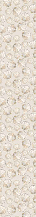 TenStickers. carta parati beige Conchiglie grandi e piccole. Coprite lo spazio della parete del vostro soggiorno con la nostra carta da parati vintage di conchiglie. Il disegno contiene vari fogli di conchiglie di colore beige.