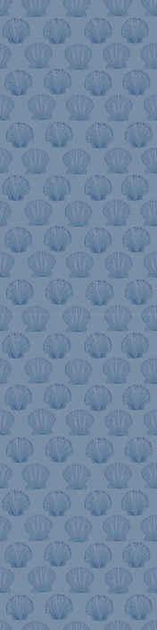 TenVinilo. Papel pared animales patrón conchas azules. Papel pintado azul con conchas marinas perfecto para comedor. Fabricado con material de alta calidad y fácil de colocar ¡Compra online!