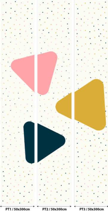 TenVinilo. Papel pintado formas geométricas tonos pastel. Papel pintado de triángulos negros para decorar las paredes de la estancia que prefieras. Un diseño infantil bonito para la habitación de tus hijos.