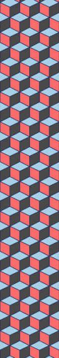 TenStickers. Carta parati 3d Quadrati geometrici 3d. Carta da parati geometrica dei quadrati 3d. Un design assemblato di forme geometriche cubiche con tre lati visibili di colore nero, blu e rosso.