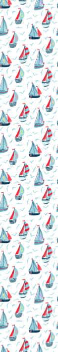 TenVinilo. Papel pared infantil barcos navegando. Papel pared infantil de bonito diseño de barcos en la orilla del mar. Los barcos son números y también contiene pájaros volando en el cielo.