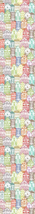 TenStickers. Farverige huse børn tapet. Farverige huse mønster tapet til børn soveværelse. Flerfarvet design, der ville transformere ethvert barns rum på en tiltalende og dejlig måde.