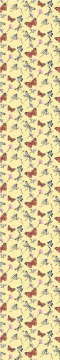 TenStickers. Sommerfugl i en række blomster tapet. Sommerfugl i en række blomster tapet for at dekorere rummet til den yngste i et hus. Gul baggrund tapet med flerfarvede sommerfugle