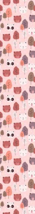 TenVinilo. Papel pared infantil rosa de osos panda. Un papel pared infantil de osos diferentes para el dormitorio de los niños. El diseño tiene pandas, osos blancos y árboles ¡Compra online!