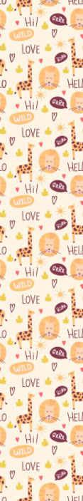TenStickers. Tapet girafa cu cuvinte tapet copii. Un tapet colorat de girafă cu textul salut dragoste sălbatică pentru a decora camera copilului tău. Produs de înaltă calitate livrat acasă!