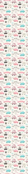 Tenstickers. Barns rosa bilar barn tapeter. Färgglada och roliga mönstrade tapeter för barnrum. Tapeten innehåller olika teckningar av veteranbilar. Högkvalitativt tillverkad tapet.