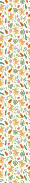 TenStickers. Carta da parati con animali Scimmia tropicale nei rami. Carta da parati per cameretta per bambini con disegno di foglie tropicali, scimmie, insetti e altro ancora.. Originale, resistente, impermeabile e facile da applicare.