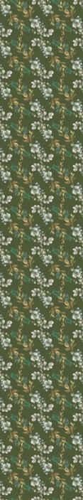 TenStickers. Papier peint chambre Feuilles et branches fond vert. Feuilles et branches papier peint vert. sticker de conception de fleurs ornementales pour embellir n'importe quelle partie de votre maison. Disponible dans toutes les tailles que vous souhaitez.