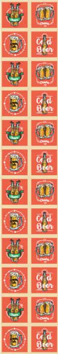 TenStickers. Behang keuken Bier thema. Briljant bier behang met verschillende bierflesjes omgeven door tekst waaronder 'koud bier', 'bier uur' en 'proost'.