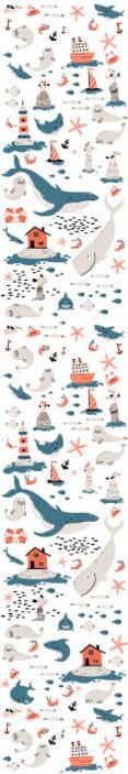 TenStickers. Carta da parati cameretta Sotto il mare. Carta da parati per bambini che presenta un motivo di oggetti a tema oceanico tra cui galles, foche, pesci e stelle marine! Alta qualità.