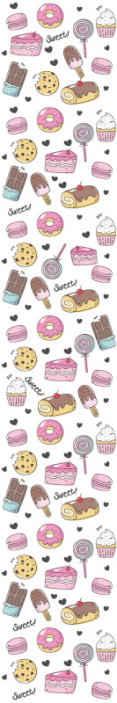 """TenStickers. 甜点主题厨房乙烯基壁纸. 厨房墙纸设计,其特征在于甜甜圈,棒棒糖,巧克力和蛋糕的美味图案,并在其周围写上""""甜""""字。"""