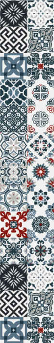 TenStickers. Portuguese vintage tiles tile Effect wallpaper. This Portuguese vintage tiles pattern wallpaper is suitable for a living room and bathroom space but you can choose to install it on any other space.