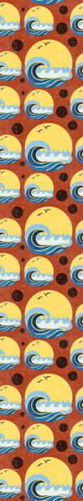 TenStickers. papel parede formas geométricas Sol, praia e onda. Papel de parede de formas geométricas de sol, praia e onda. Projeto adequado para sala de estar e também para outras áreas da casa. é original e duradouro.