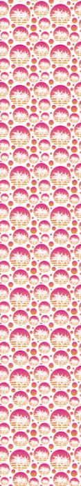 TenStickers. Carta parati geometrica Tramonto paesaggio vintage. Disegno della carta da parati dell'illustrazione del paesaggio al tramonto con le palme. Molteplici stampe di design ispirato all'estate illumineranno la tua casa in un modo adorabile