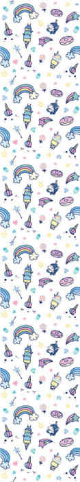 TenStickers. Unicorn in rainbow colours Kids Wallpaper. Colorful space patterned children wallpaper. It contains different prints rainbows, starry elements and unicorns, illustrating fairy fantasy.