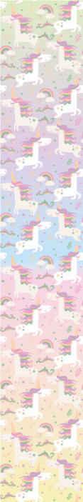 TenStickers. Carta da parati cameretta Unicorno dell'acquerello. Lascia che lo spazio della camera da letto del tuo bambino sia spazzato dalla sensazione di questa carta da parati a motivi di unicorno per bambini. è originale e di facile applicazione.