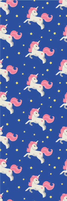 TenStickers. Unicorn on the blue backgrounds Kids Wallpaper. Unicorn on blue backgrounds kids wallpaper for a child's room. It featured different unicorns running on a blue background.