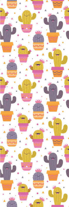 TenStickers. wallpaper cactus bedroom wallpaper. Colorful prints of cactus plant wallpaper. A design suitable to decorate the bedroom space of children in a fun and interesting way.