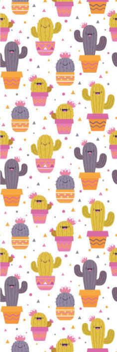 TenStickers. 壁纸仙人掌卧室壁纸. 仙人掌植物壁纸的彩色打印。一种适合以有趣和有趣的方式装饰儿童卧室的设计。