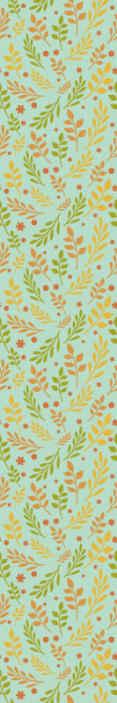 Tenstickers. Keltainen lehdet lehtitapetti. Koristeellinen monivärinen lehtikuviotapetti, joka sopii olohuoneeseen. Kuvio havainnollistaa keltaisen lehtien eri väripainatuksia.
