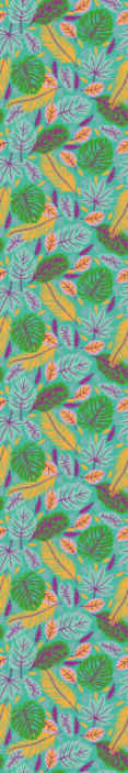 TenStickers. Multicolor Leaves leaves wallpaper. Colorful decorative  green leave pattern wallpaper suitable for a living room and other space. It is original and easy to apply.
